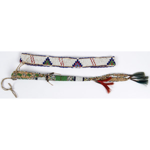 Sioux Beaded Hide Awl Case and Hat Band, From the Collection of William H. Saunders, M.D. and Putzi Saunders, Ohio