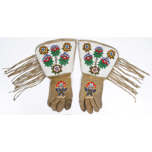 Plateau Beaded Hide Gauntlets and Northern Plains Beaded Hide Cuffs, From the Collection of William H. Saunders, M.D. and Putzi Saunders, Ohio