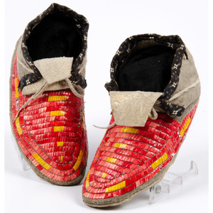 Sioux Child's Quilled Hide Moccasins, From the Collection of William H. Saunders, M.D. and Putzi Saunders, Ohio