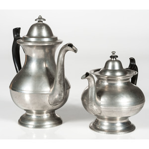 Sellew Pewter Coffee Pot and Gleason Teapot