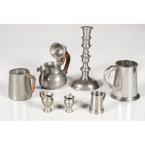 Pewter Candlestick, Teapot and Measures