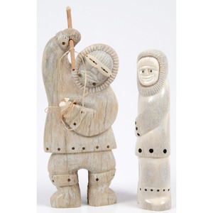 Wilbur Kuzuguk (Inuit, 20th century) Bone Sculpture of a Hunter, PLUS, From the Collection of William H. Saunders, M.D. and Putzi Saunders, Ohio