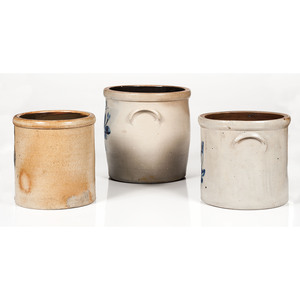 Cobalt Decorated Stoneware Crocks, Including J. Fisher & Co., Lyons, N.Y.
