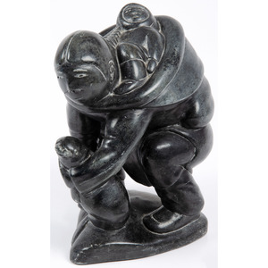 Inuit Soapstone Sculpture, Mother and Child with Seal, From the Collection of William H. Saunders, M.D. and Putzi Saunders, Ohio