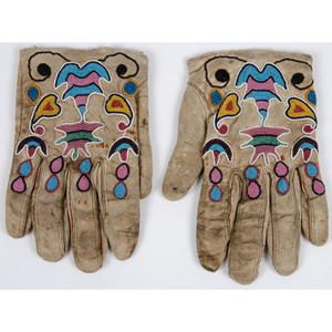 Crow Beaded Hide Gloves, From the Collection of William H. Saunders, M.D. and Putzi Saunders, Ohio