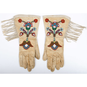Plateau Beaded Hide Gauntlets, From the Collection of William H. Saunders, M.D. and Putzi Saunders, Ohio