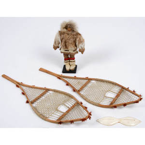 Alaskan Eskimo Walrus Ivory Snow Goggles, Miniature Snowshoes, AND Doll, From the Collection of William H. Saunders, M.D. and Putzi Saunders, Ohio