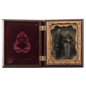 Quarter Plate Ruby Ambrotype of an Armed Union Soldier and Father