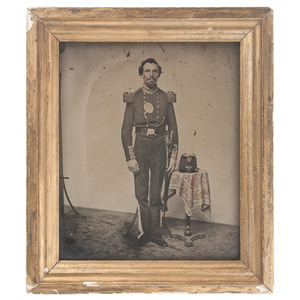 Full Plate, Framed Ambrotype of an Armed Militia Officer