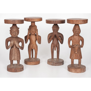 African Carved Standing Trays,