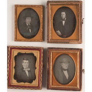 Sixth and Ninth Plate Daguerreotype Portraits of Gentlemen, Lot of 23