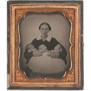 Sixth Plate Ambrotype of a Mother with Triplets