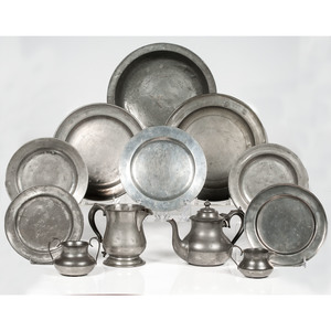 Pewter Dishes and Tea Set