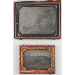 Half Plate and Quarter Plate Daguerreotypes of Outdoor Scenes, Including Early View of Mansion