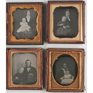 Daguerreotype Portraits of Parents with Young Children