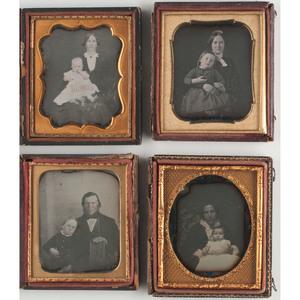 Daguerreotype Portraits of Parents with Young Children