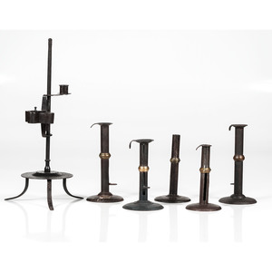 Hogscraper Candlesticks and a Betty Lamp