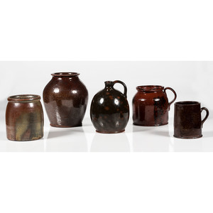 Redware Pottery, including a Jug from the George McKearin Collection