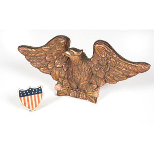 Carved Wooden Eagle and Tin Shield