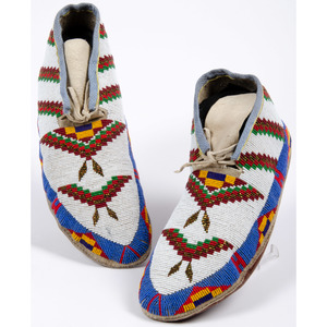 A'aninin (Gros Ventre) Beaded Hide Moccasins
