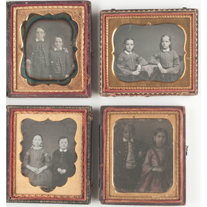 Sixth Plate Daguerreotype Portraits of Groups of Children, Including Possible Hispanic Siblings