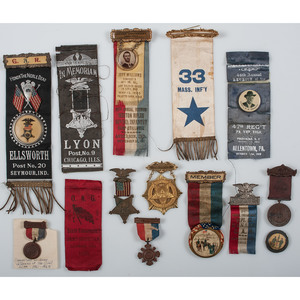 Collection of GAR Ribbons, Badges, Ephemera, and More, Including GAR Kepi, Lot of 41