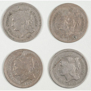United States Three Cent Nickels 1865