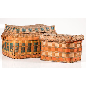 Iroquois Polychrome Lidded Storage Baskets