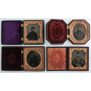 Lot of Four Sixth Plate Cased Images of Union Soldiers, Including Officers, One Housed in Octagonal Union Case