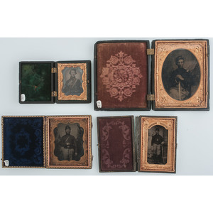 Four Civil War Cased Images Featuring Armed Soldiers, Including an Officer and Cavalrymen