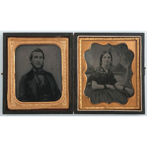 Sixth Plate Tintype and Ruby Ambrotype of Major and Mrs. John S. Platner, 33rd N.Y.S.V.