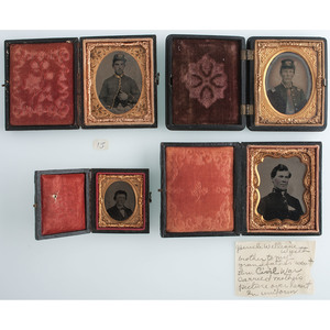 Lot of Four Cased Images, Including Possible 1st NY Light Artilleryman