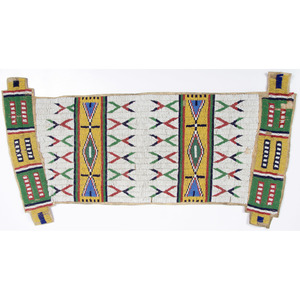 Sioux Beaded Hide Panel from a Possible Bag, From the Collection of William H. Saunders, M.D. and Putzi Saunders