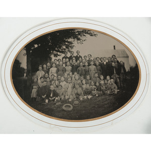 Fine Full Plate, Outdoor Tintype of a Large Group of Children