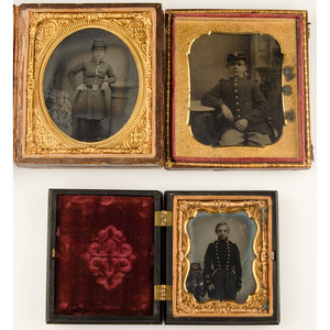 Ambrotype and Tintypes of Boys in Military Uniform, Lot of Three