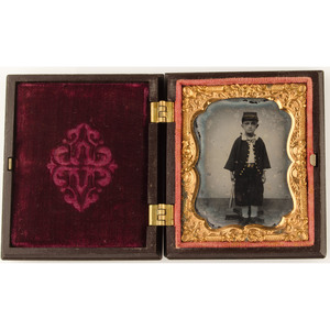 Ninth Plate Ruby Ambrotype of Young Boy in Zouave Uniform Housed in Constitution and the Laws Union Case