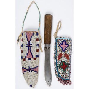 Sioux Beaded Hide Knife Sheaths