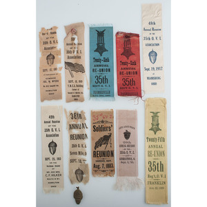 Collection of 35th Ohio Volunteer Infantry Reunion Ribbons