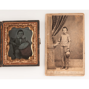 Ambrotype and CDV of Young Drummer Boy Identified as Charlie Bacon, OVI