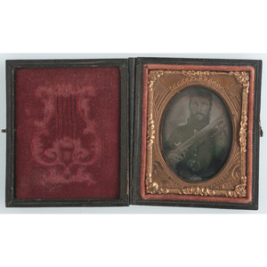 Ninth Plate Ruby Ambrotype of Federal Soldier Armed with Model 1841 Mississippi Rifle, Plus
