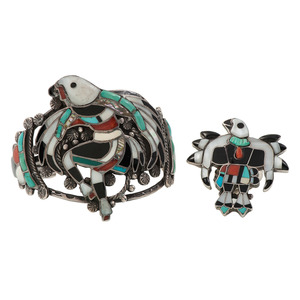 Zuni Channel Inlay Eagle Dancer Cuff Bracelet AND Ring