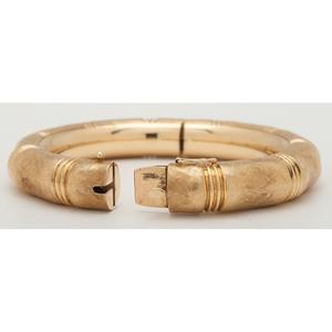 Bamboo Style 18 Karat Yellow Gold Hinged Bangle Bracelet