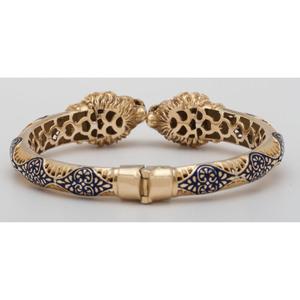 18 Karat Yellow Gold Lion's Head Bangle Bracelet
