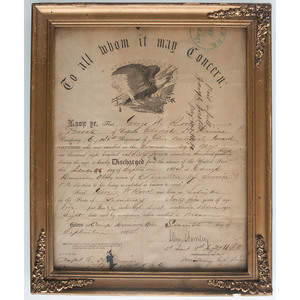 Civil War-Era Documents Including Prints, Union Discharges, and AL Estate Document Referencing Slaves
