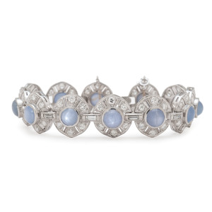 Platinum, Diamond and Star Sapphire Bracelet