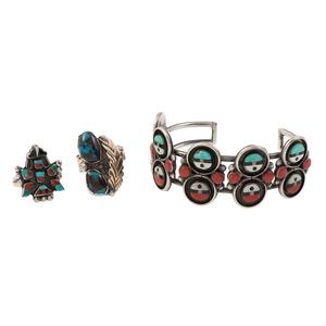 Zuni Mosaic Inlay Cuff Bracelet and Ring PLUS Navajo Ring