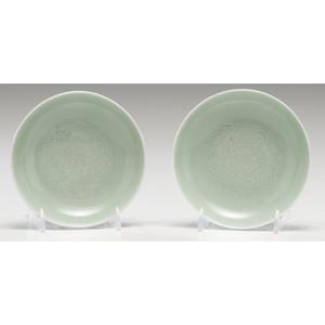 Yongzheng Celadon Porcelain Saucers with Lingzhi Motif