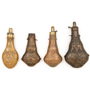 Lot of Four Ornate Copper Powder Flasks