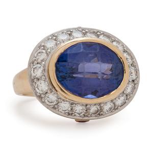 Richard Krementz Platinum and 18 Karat Yellow Gold Ring