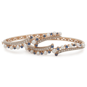 14 Karat Yellow Gold Sapphire and Cultured Pearl Bracelets